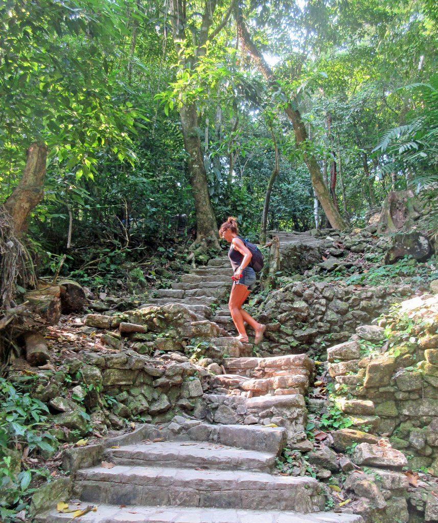 Brenda climbing stairs Palenque